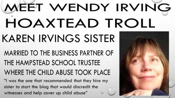 wendy irving hoaxtead troll karen irvings sister